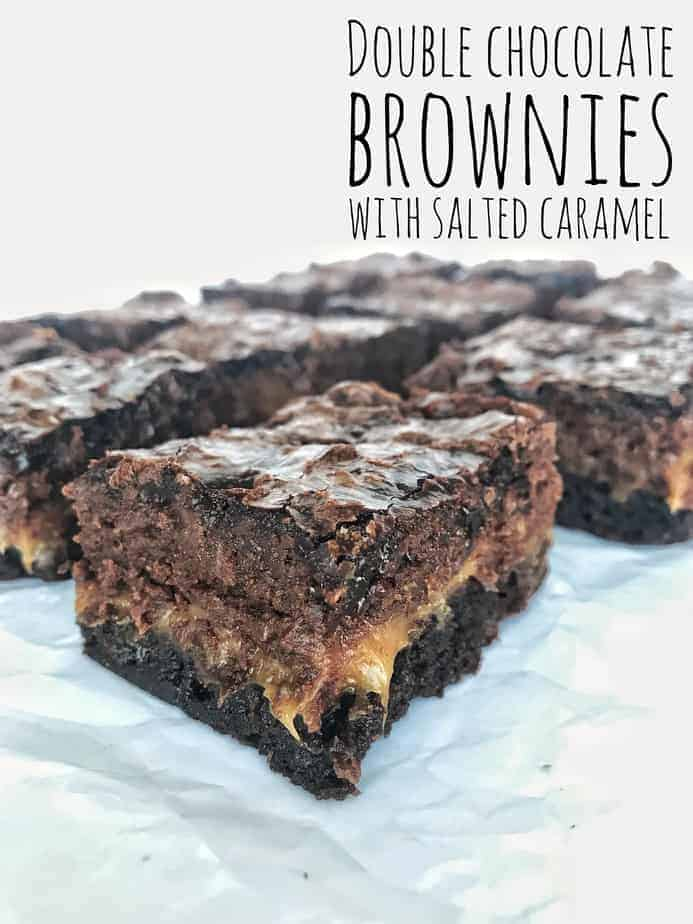 double chocolate salted caramel brownies with title