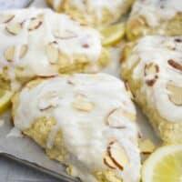 lemon scone on baking sheet