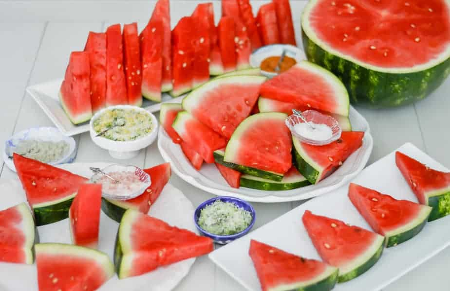 watermelon slices with a bar of salt blends