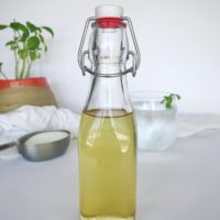 bottle of basil simple syrup