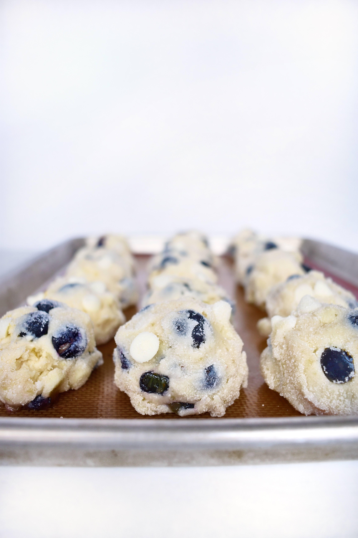 rows of blueberry lemon cookie dough balls
