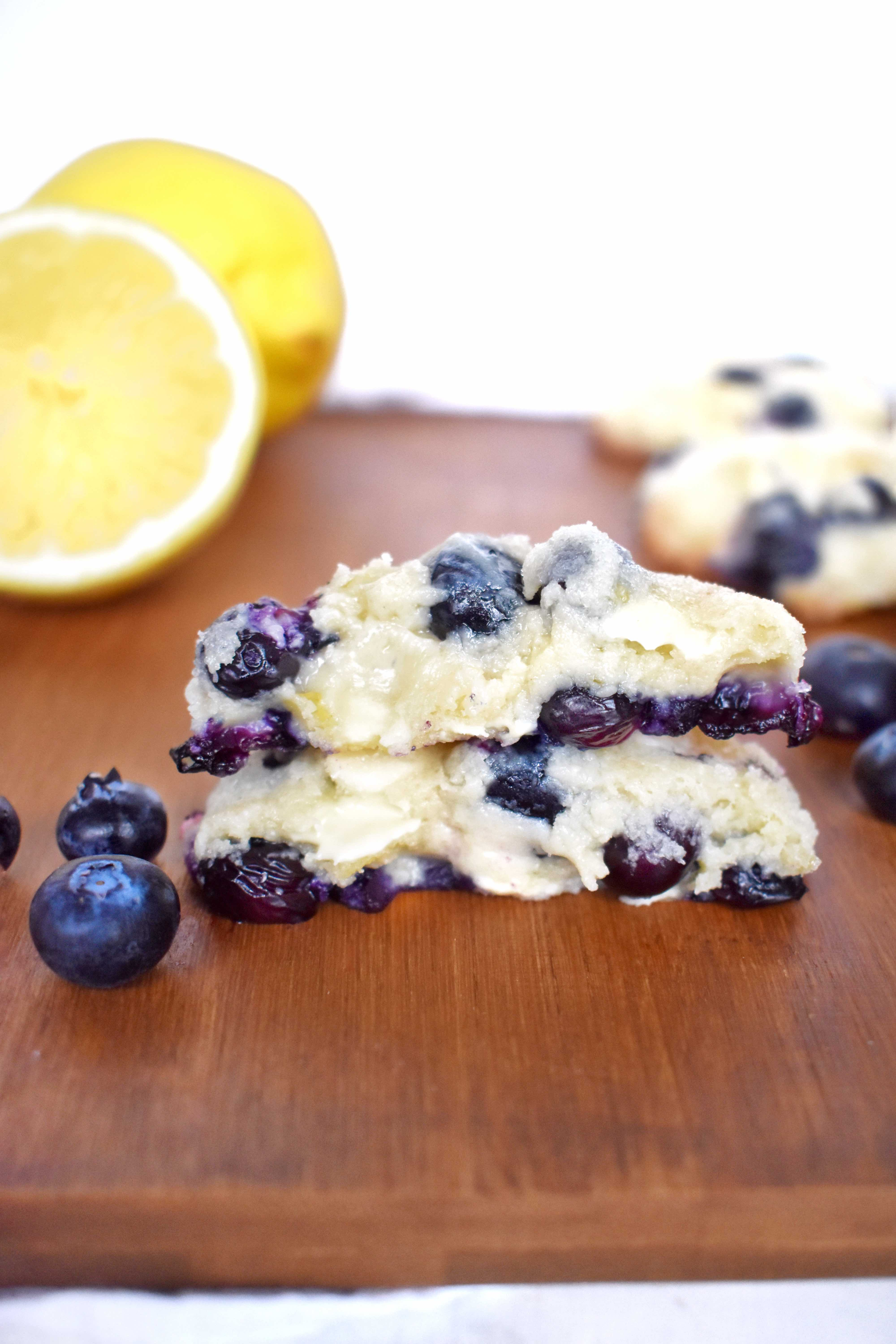 stacked gooey blueberry lemon white chocolate cookie