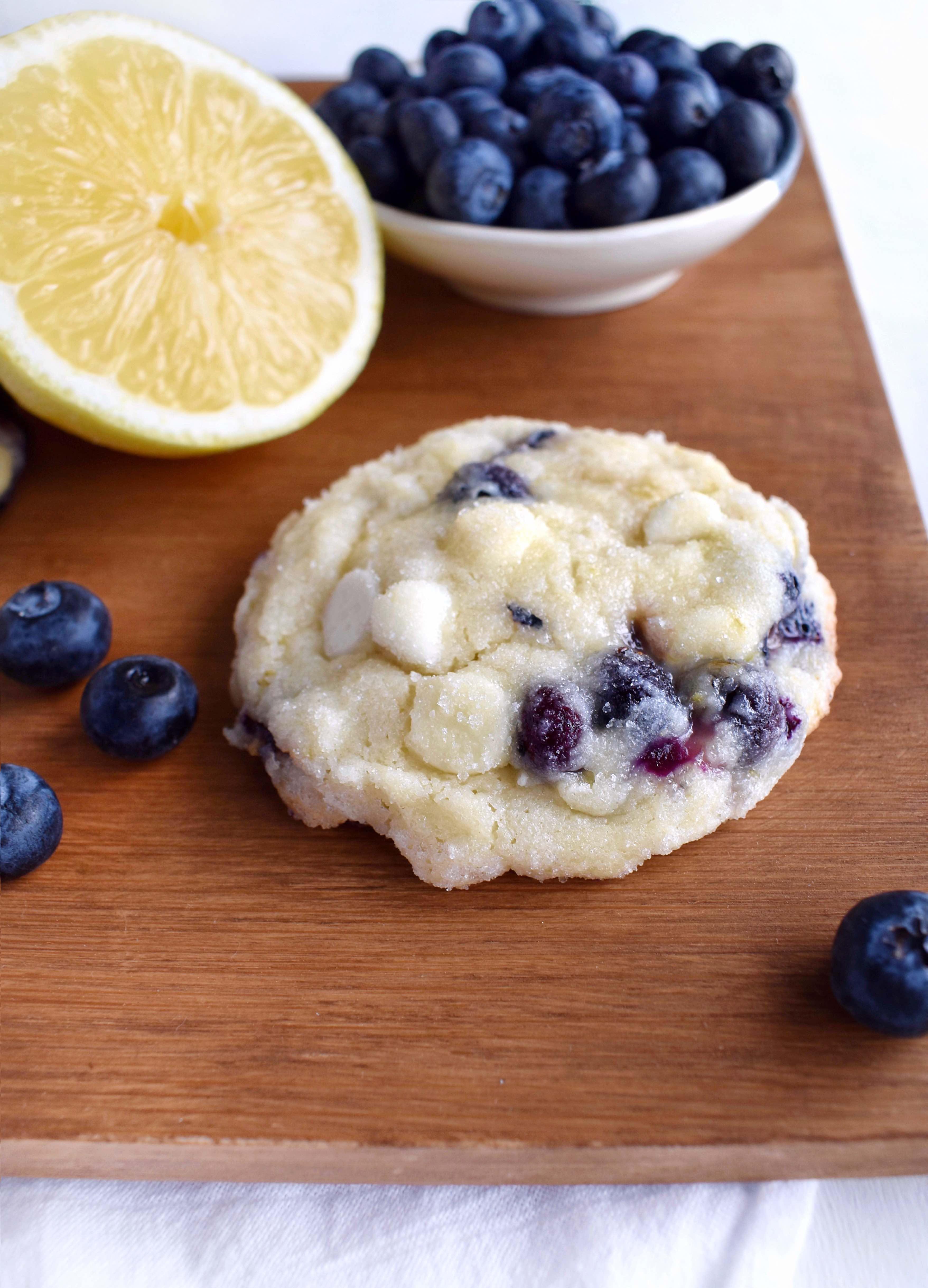 blueberry lemon cookie on wooden board