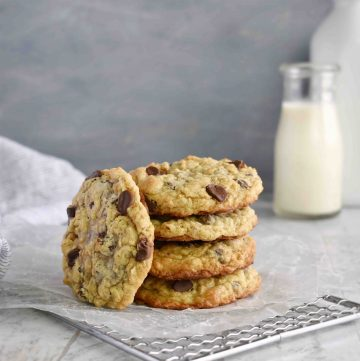 stack of 4 oatmeal cookies on cooling rack
