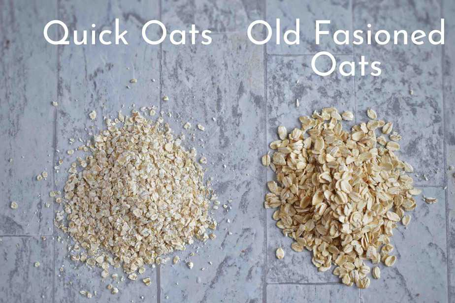 two piles of oats labeled, showing quick and old fashioned oats