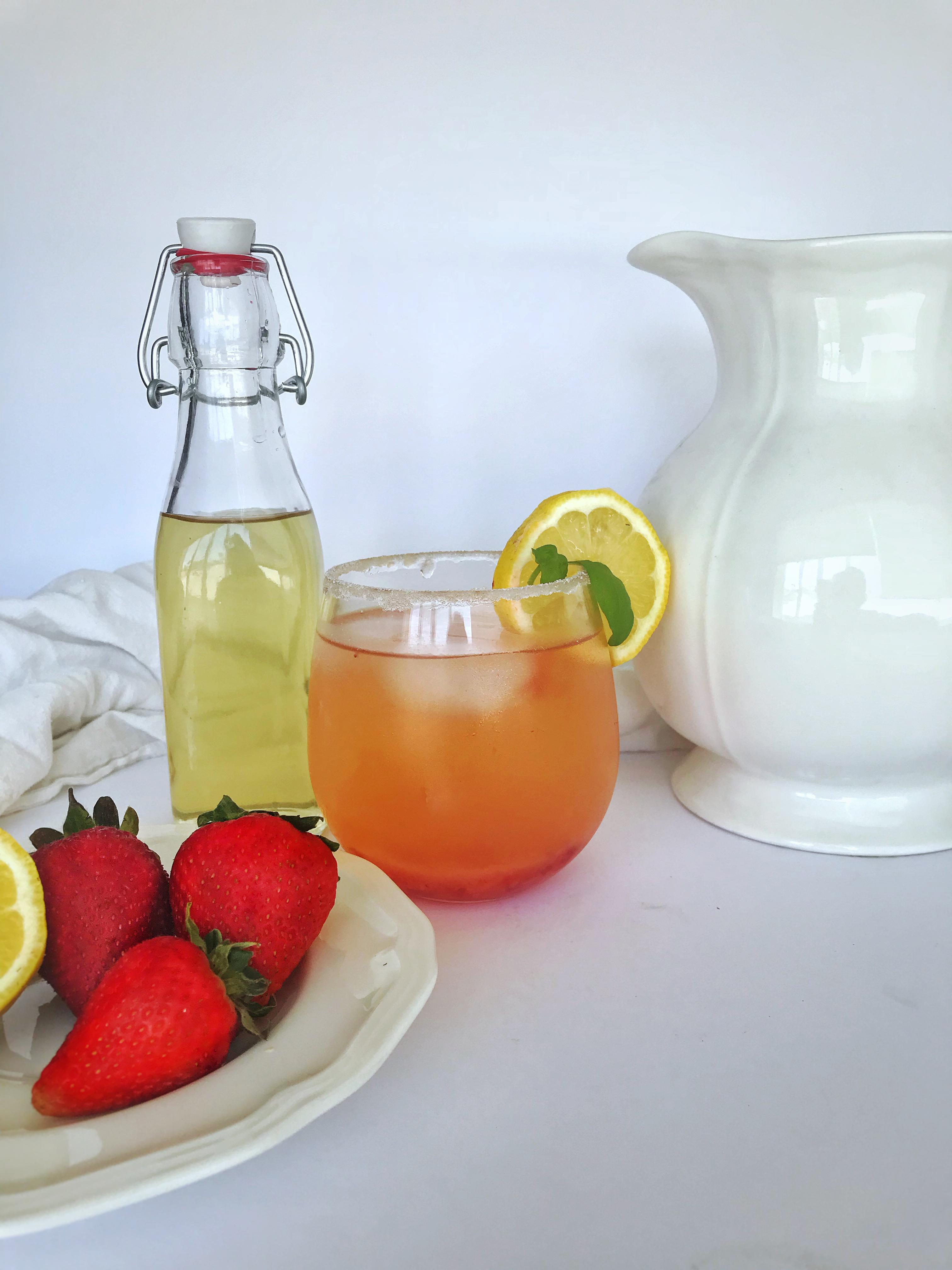 basil simple syrup and strawberry basil lemonade