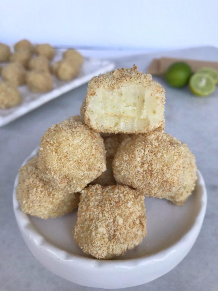 key lime pie truffles stacked