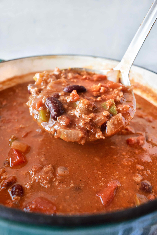 ladle full of skinny turkey chili
