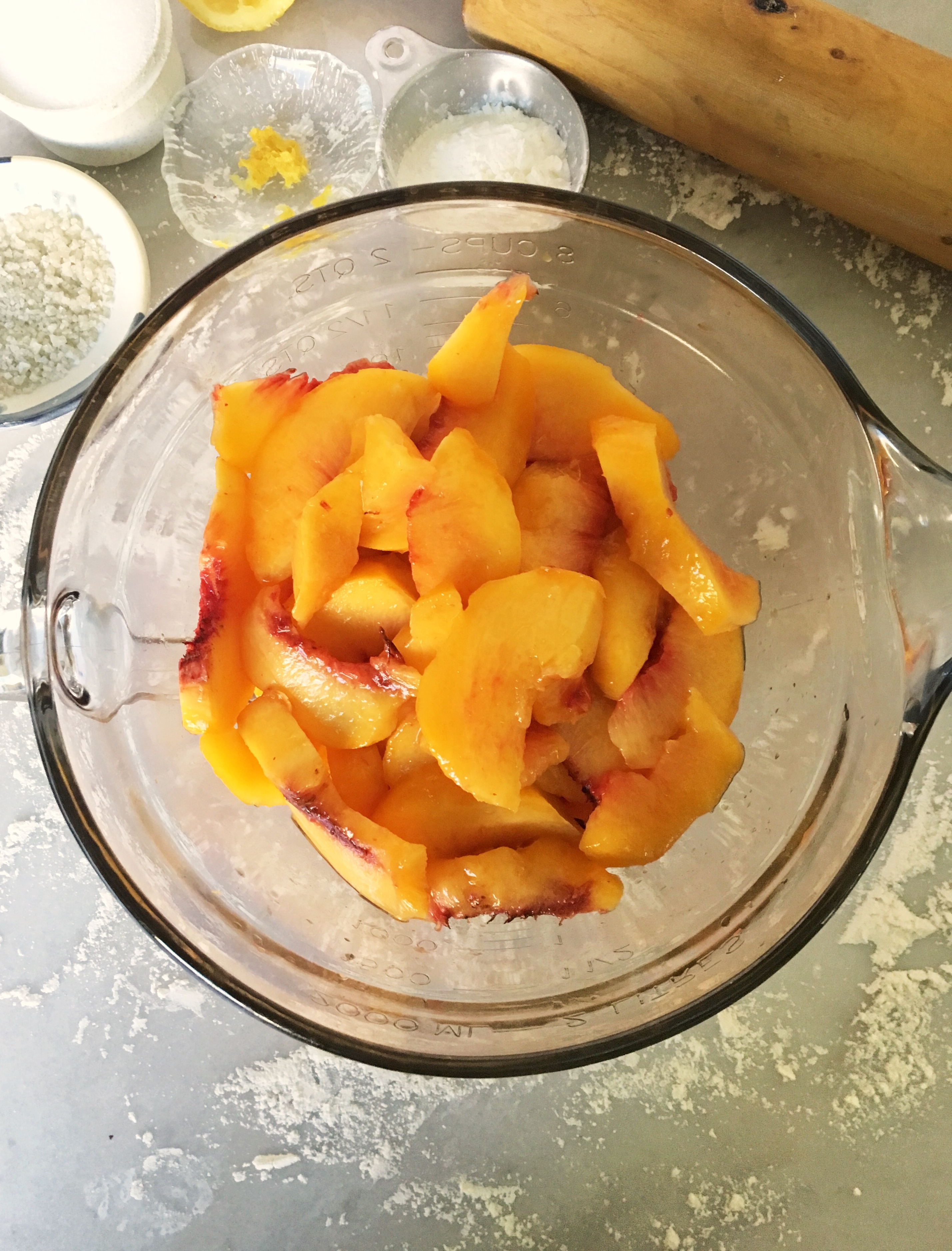 bowl of fresh peaches and other ingredients