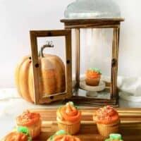 Halloween Pumpkin Cupcakes with a lantern