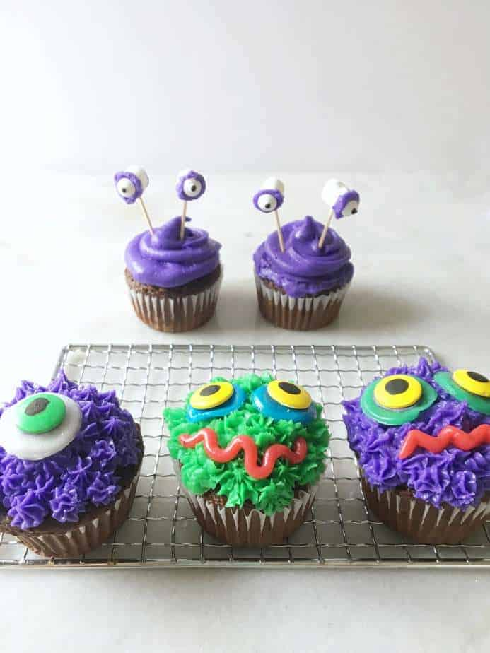 monster cupcakes for halloween on a metal grate