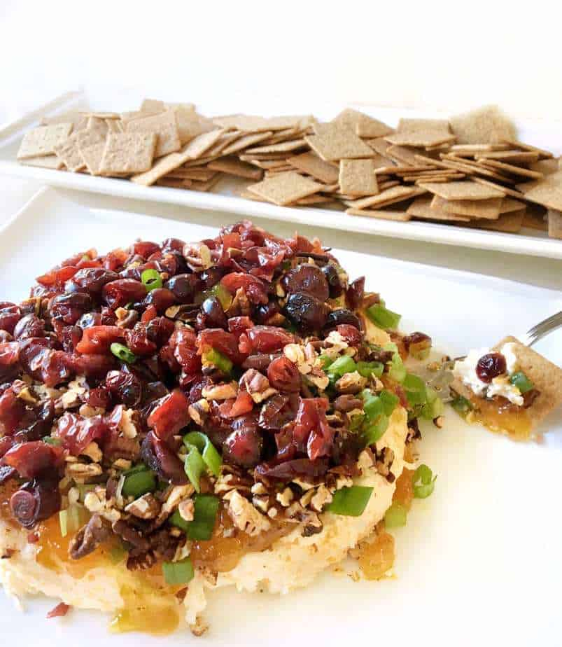 platter of holiday harvest spread with crackers