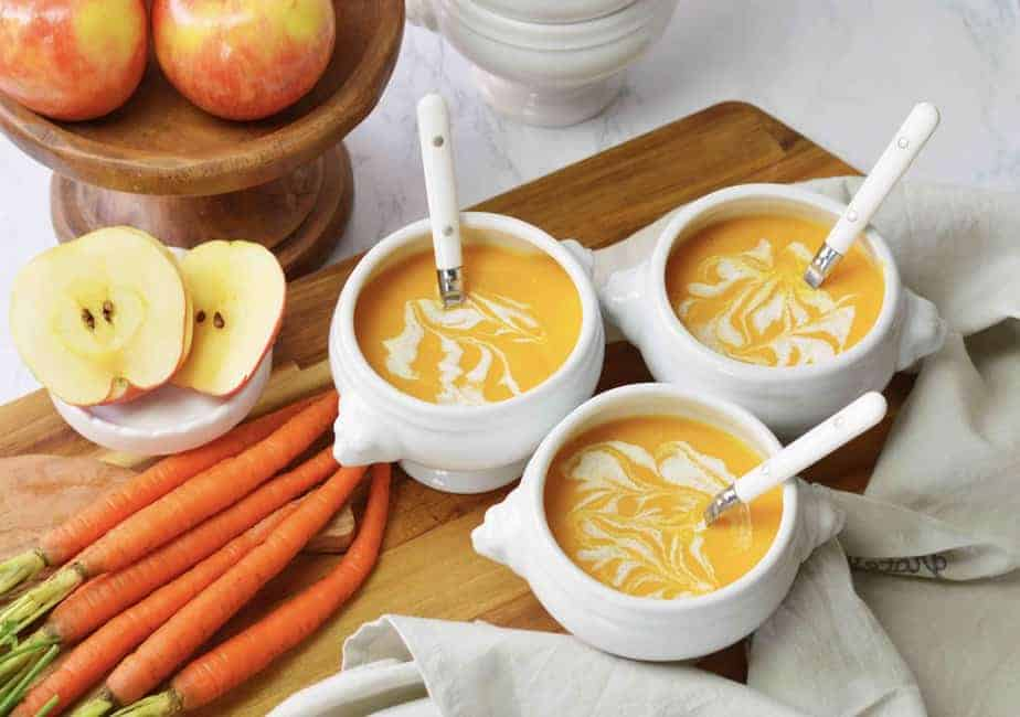 3 small bowls of carrot apple soup