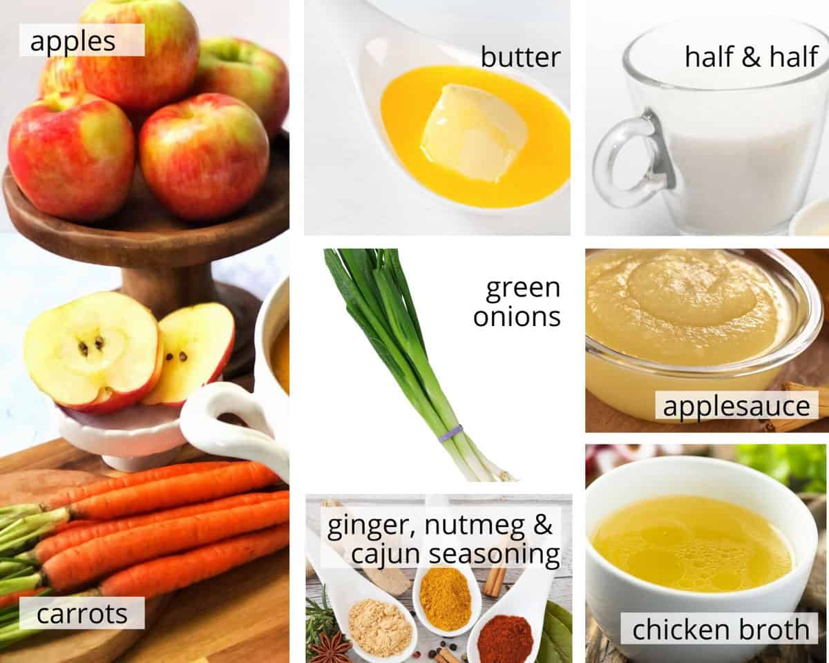 All ingredients to make carrot apple soup.