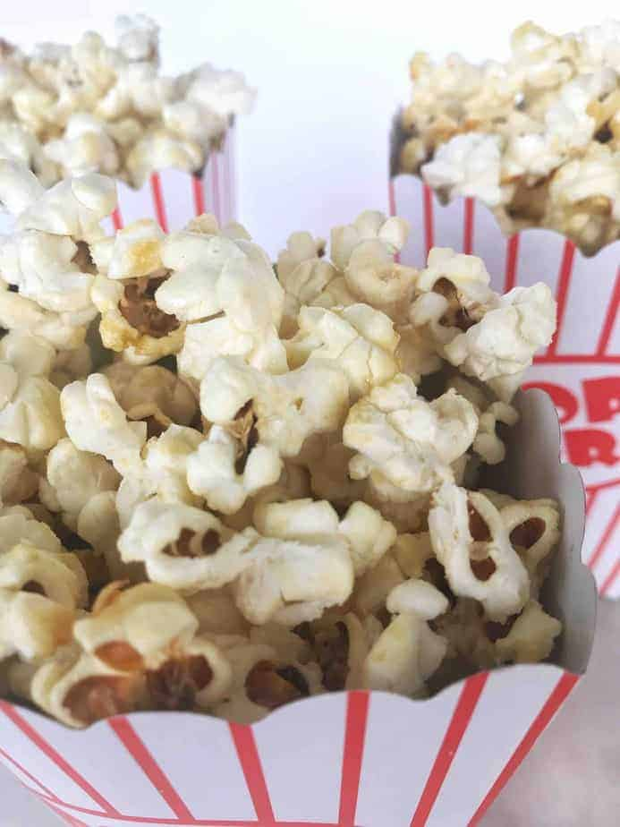 close-up view of kettle corn in popcorn bucket