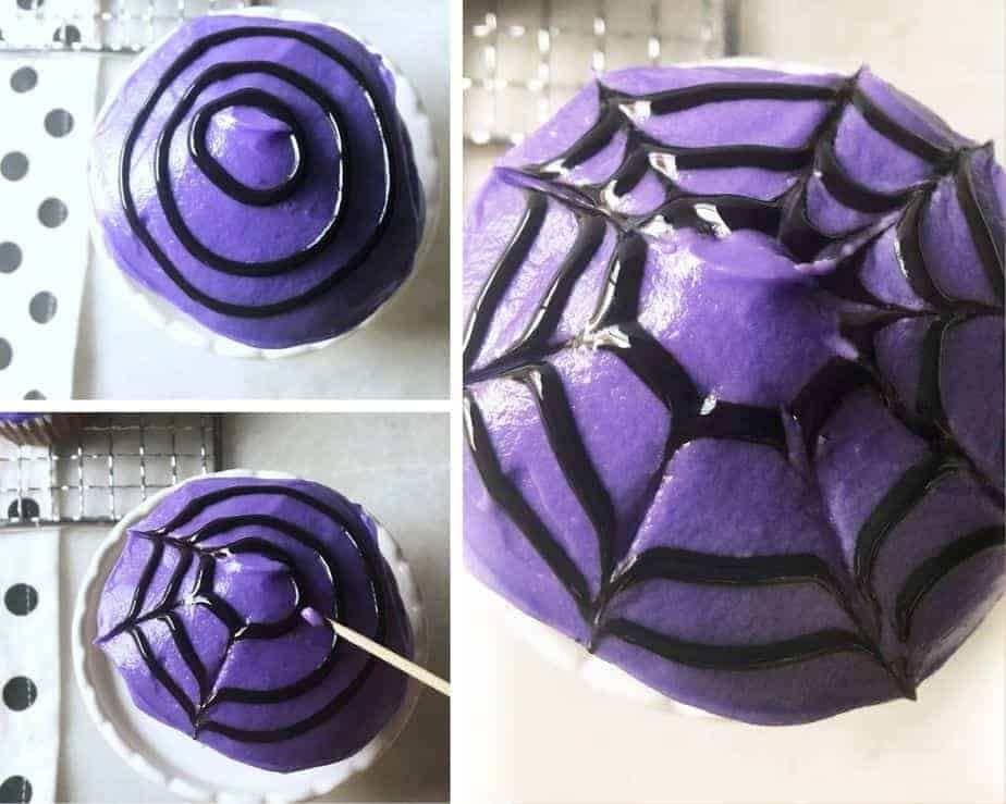 3 pictures showing how to make a spiderweb on top of a cupcake