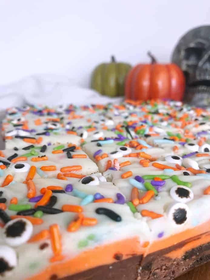 fudge all cut up with sprinkles and candy eyes on top