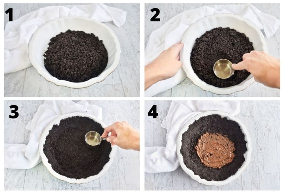 picture steps to making chocolate Oreo cookie crust
