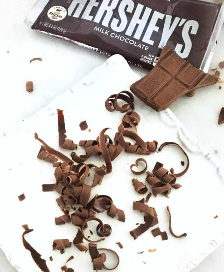 Hershey bar with chocolate curls