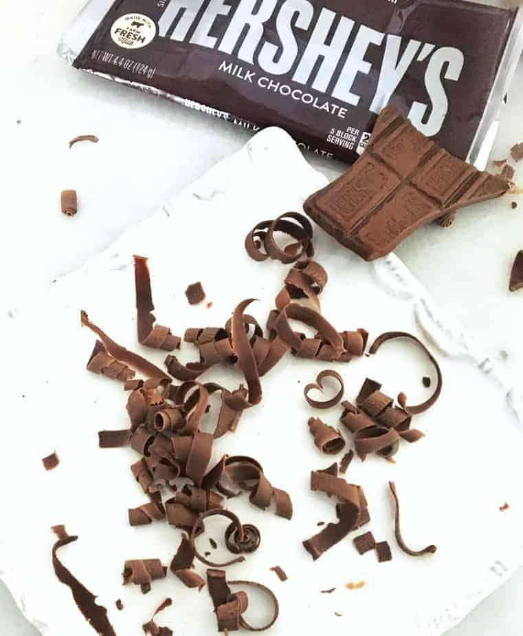Hershey bar with chocolate curls