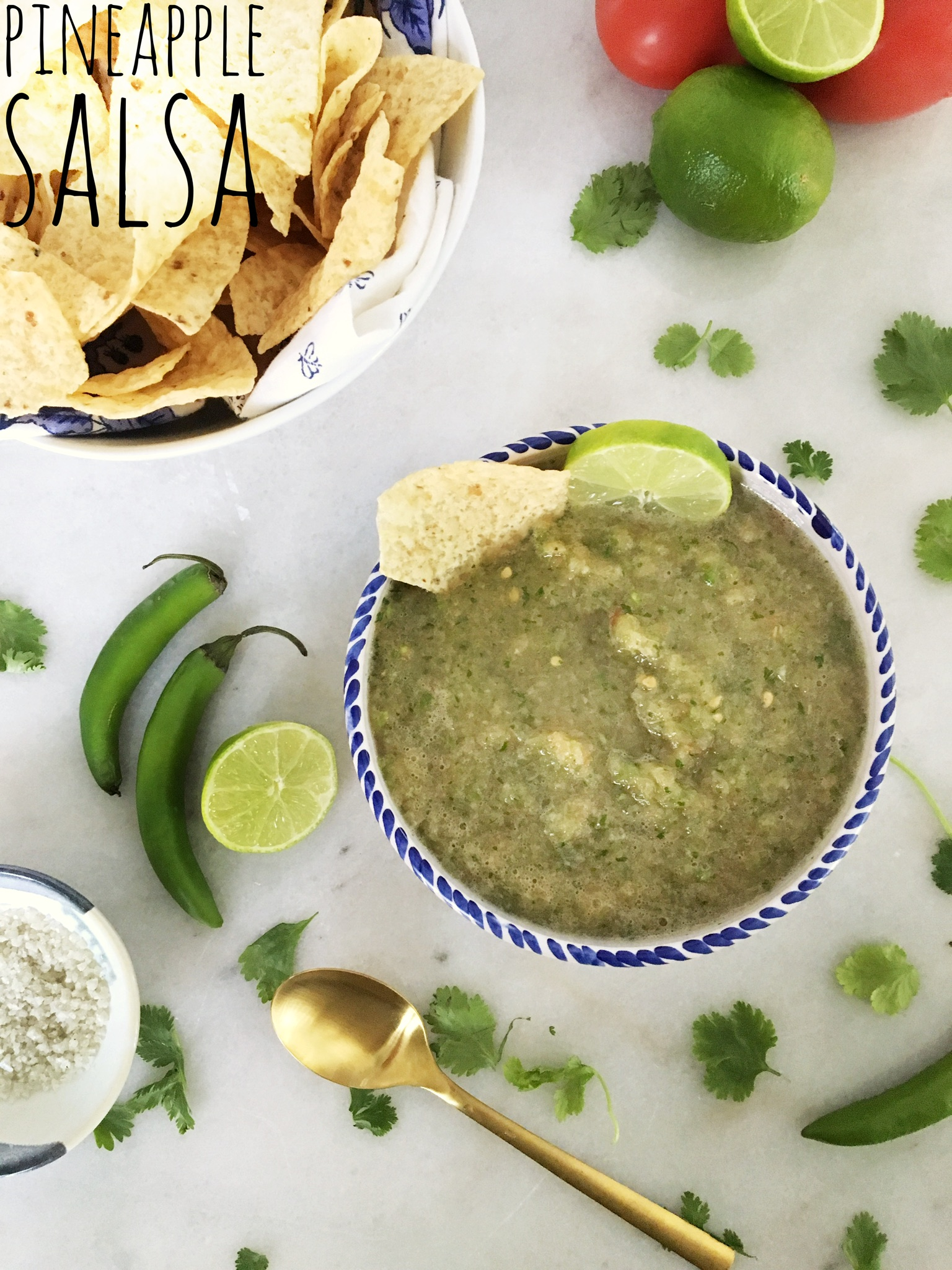green salsa with pineapple, chilies, onion and lime juice in a Mexican bowl with tortilla chips