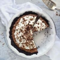 over top view of chocolate silk pie