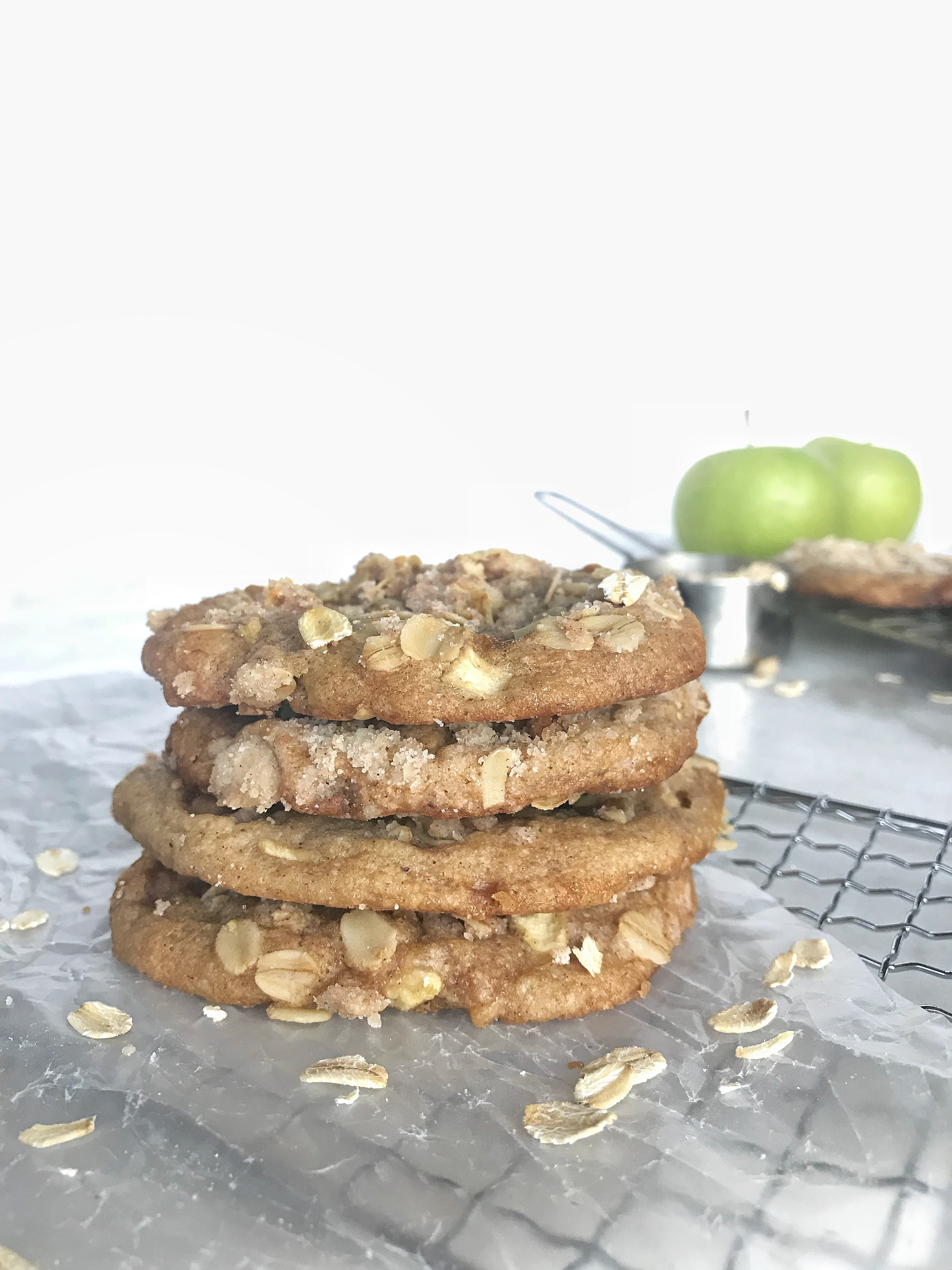 Caramel Apple Crumble Cookies stack on cooling rack