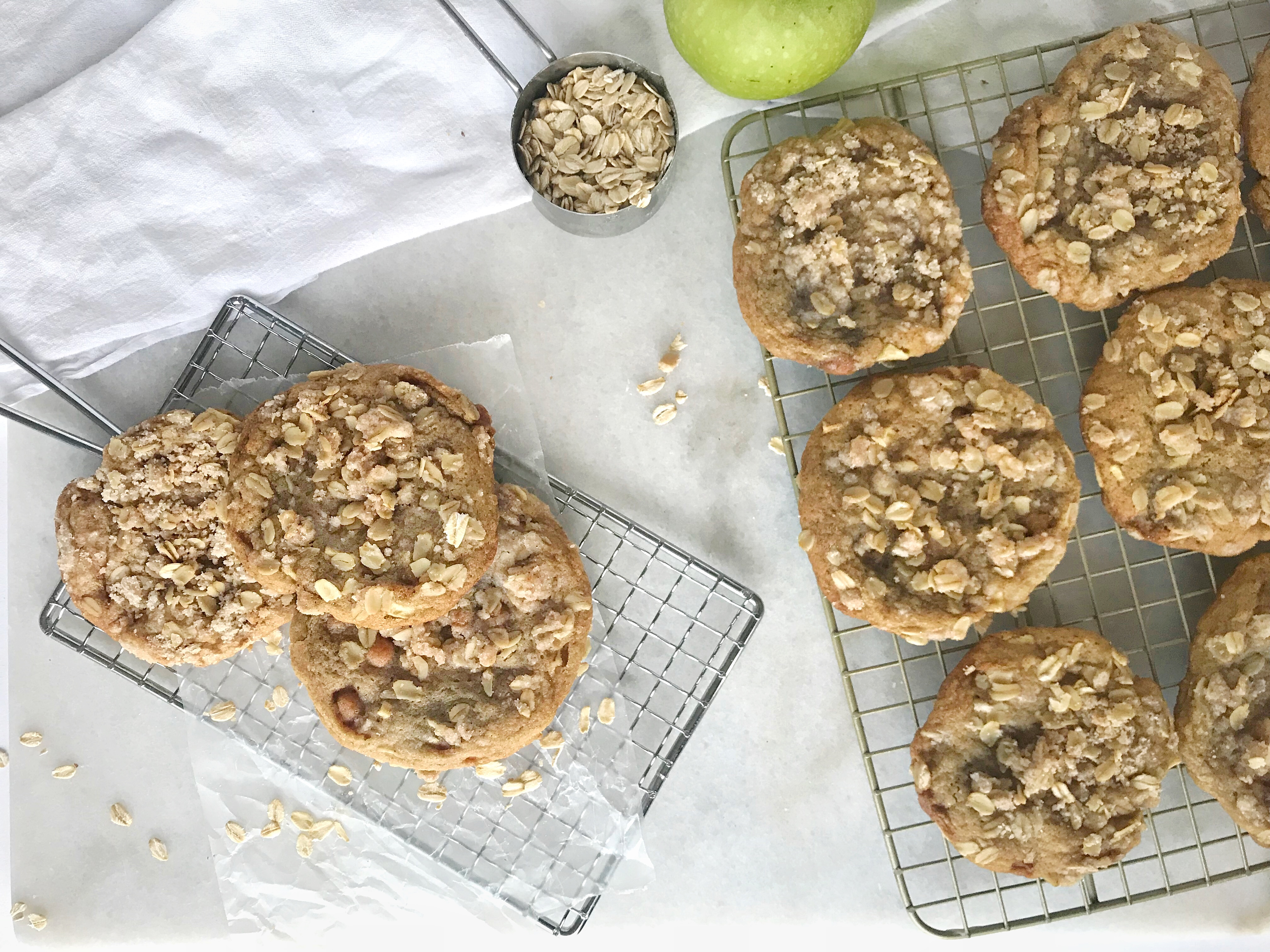Caramel apple crumble cookies on 2 cooling racks
