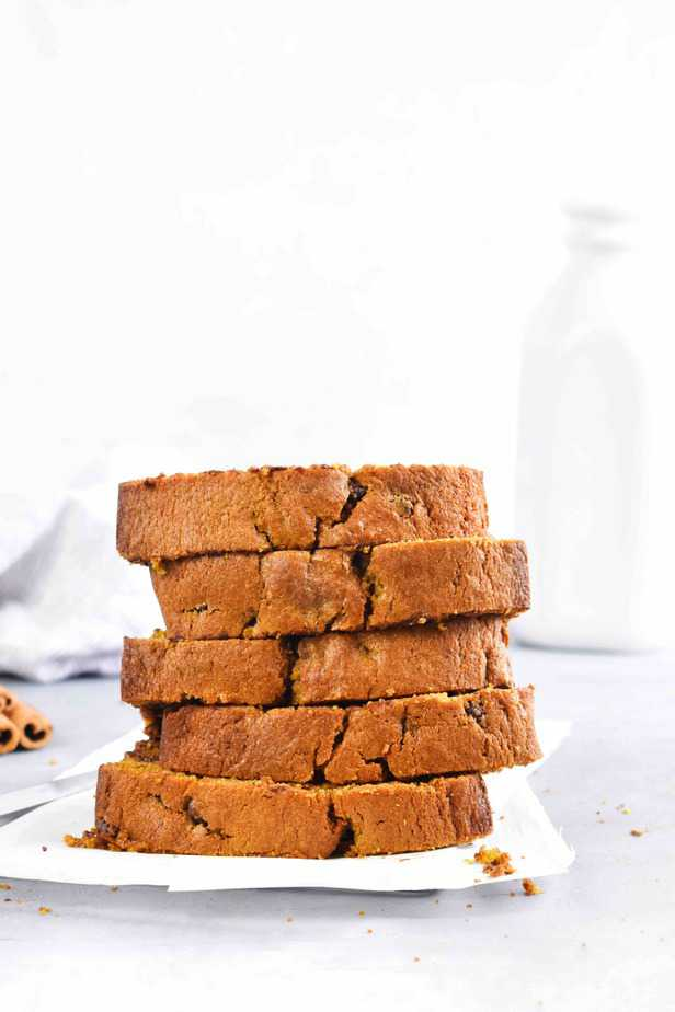 stack of pumpkin bread slices