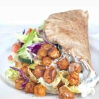 chickpea gyro on its side on plate