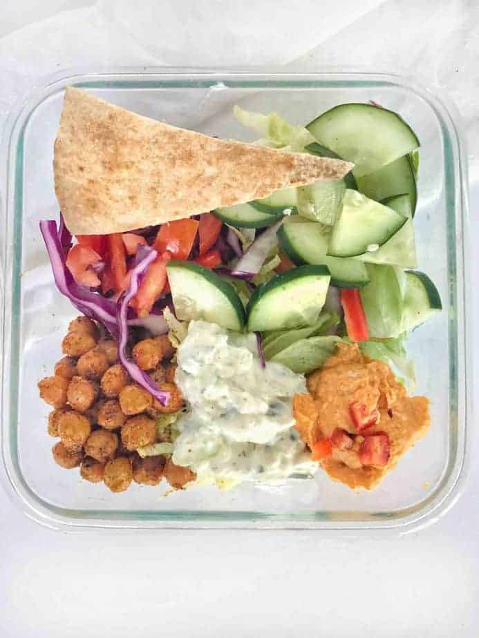 chickpea gyro fillings in salad meal prepped