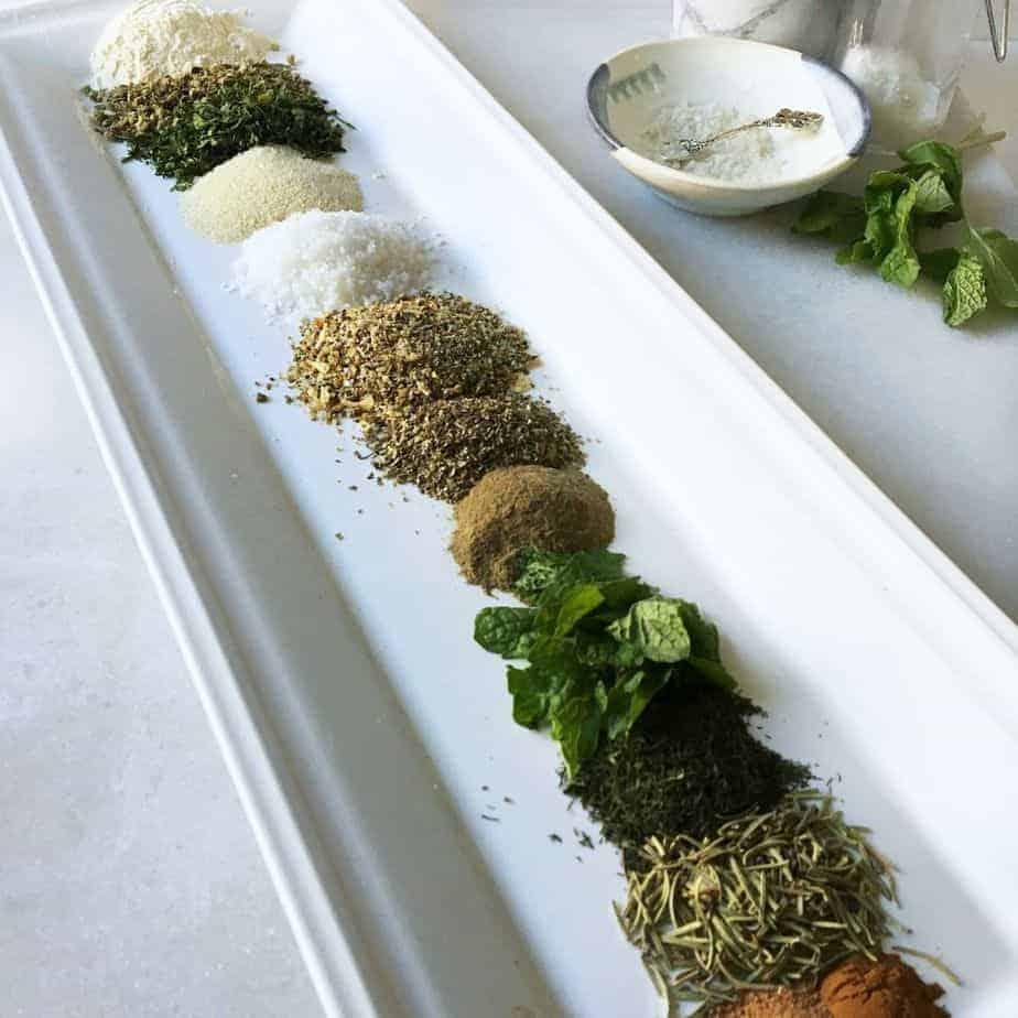small piles of seasonings for Greek seasoning blend