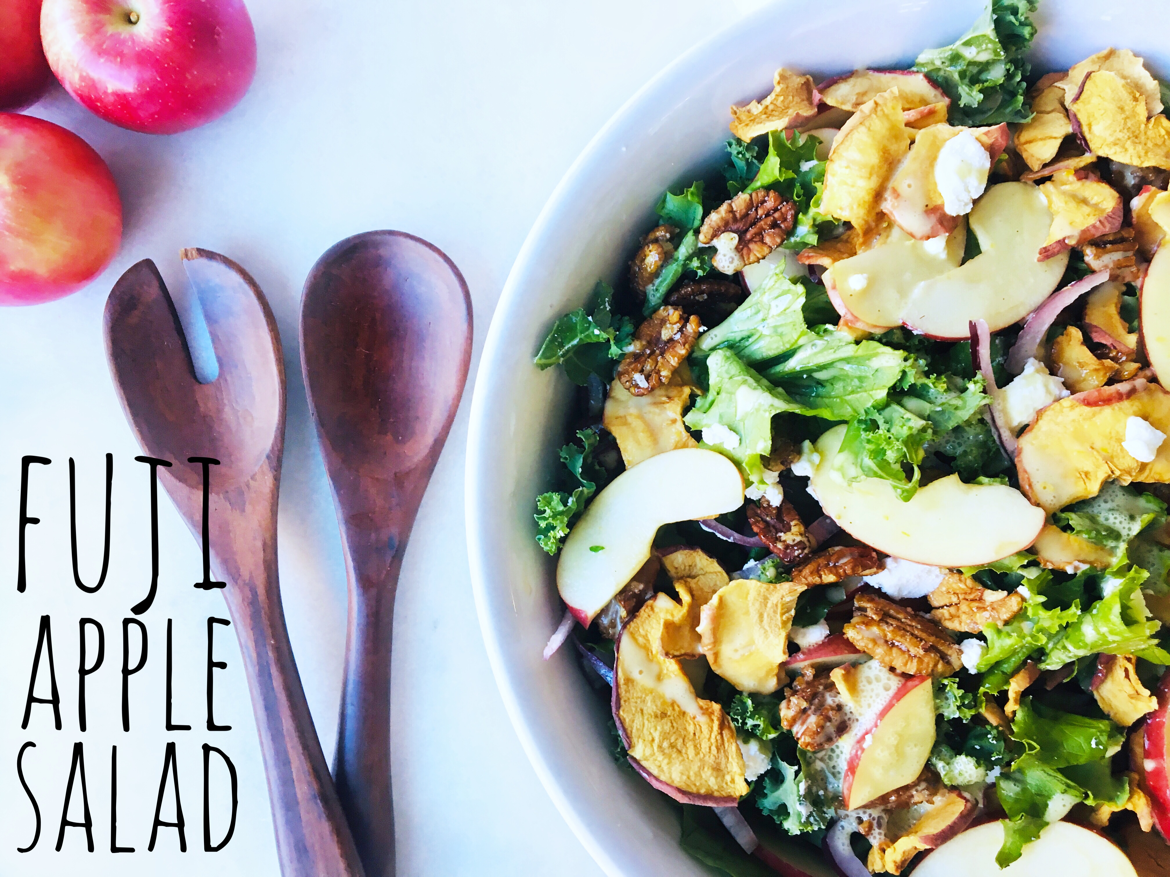 try our green salad tossed with fresh fuji apples, apple chips, toasted pecans, feta cheese and a Fuji Apple dressing