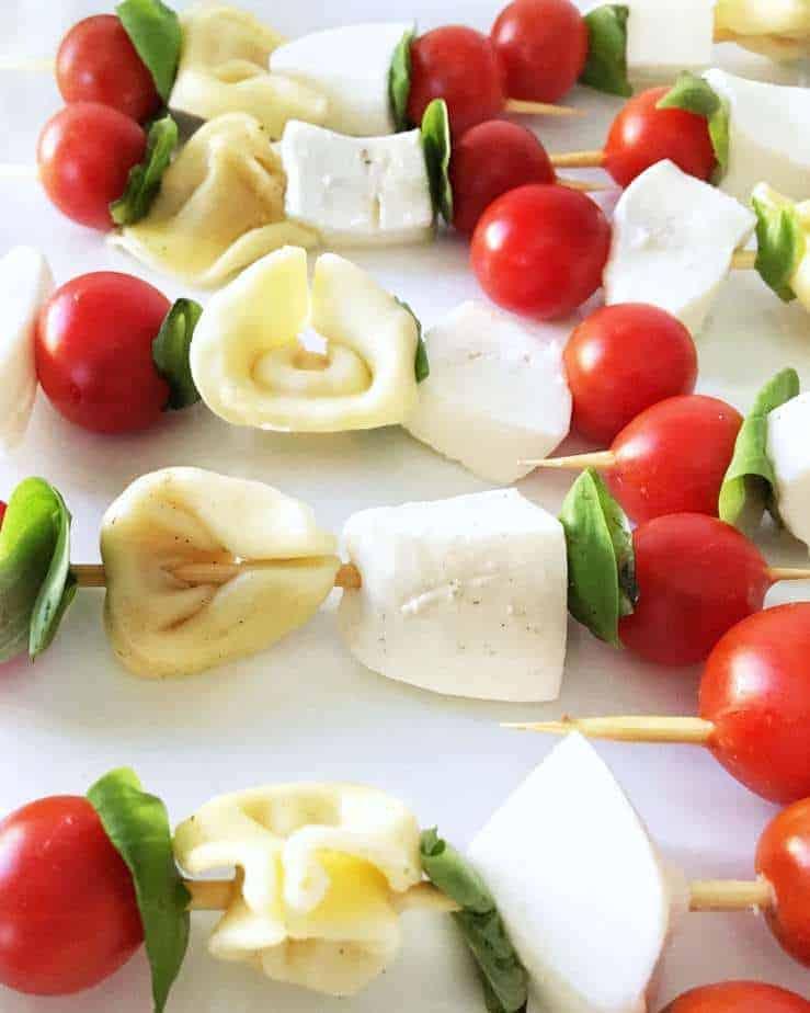 close up of tortellini caprese skewers