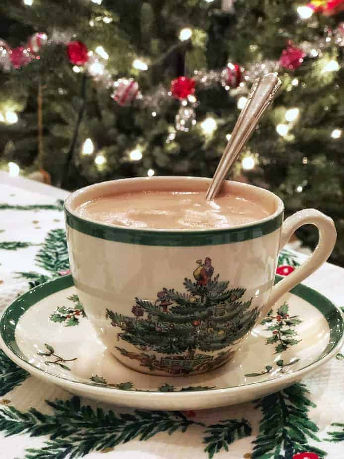 French Hot Chocolate in Spode Christmas cup