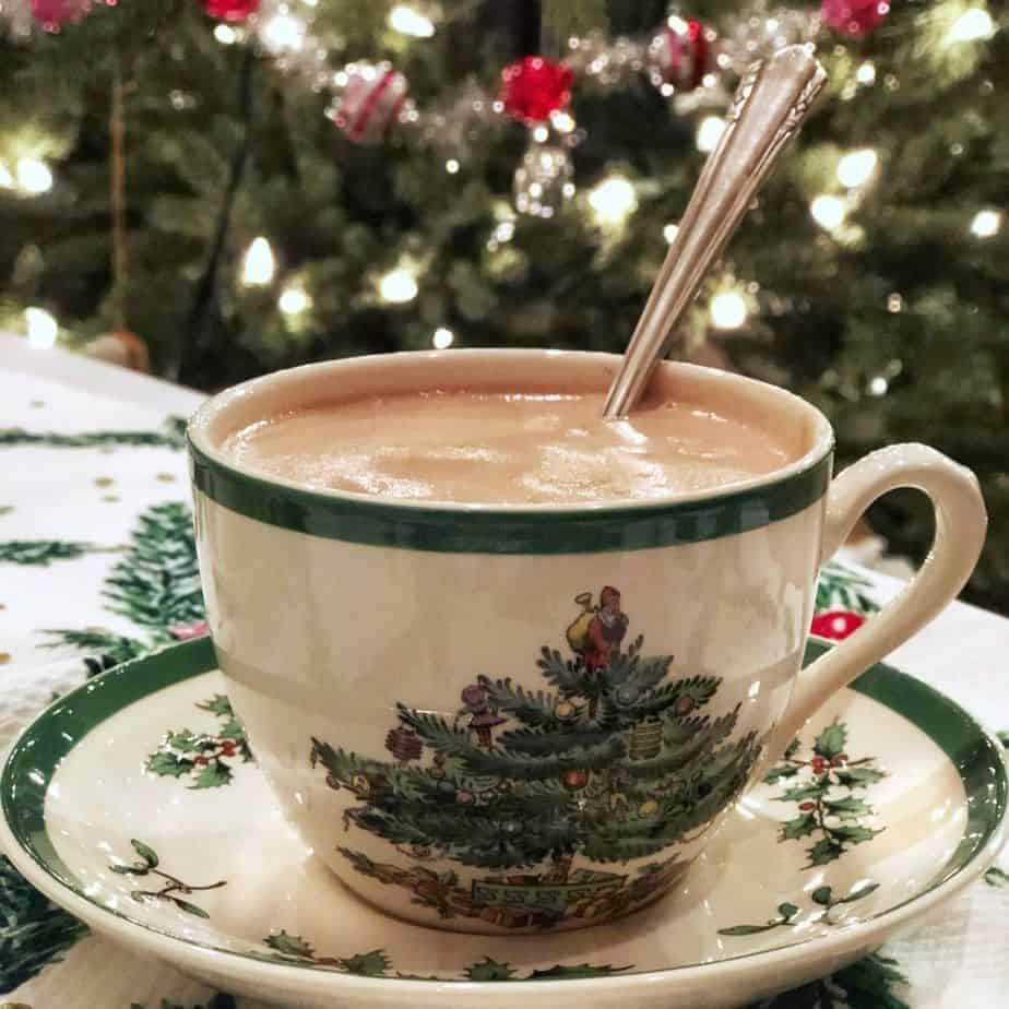 thick hot chocolate in a Spode Christmas cup