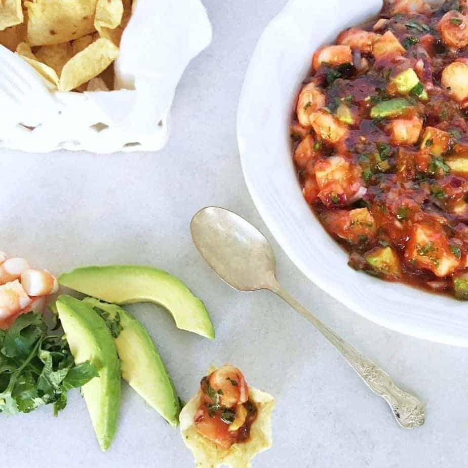 fresh shrimp and avocado dip with tortilla chips