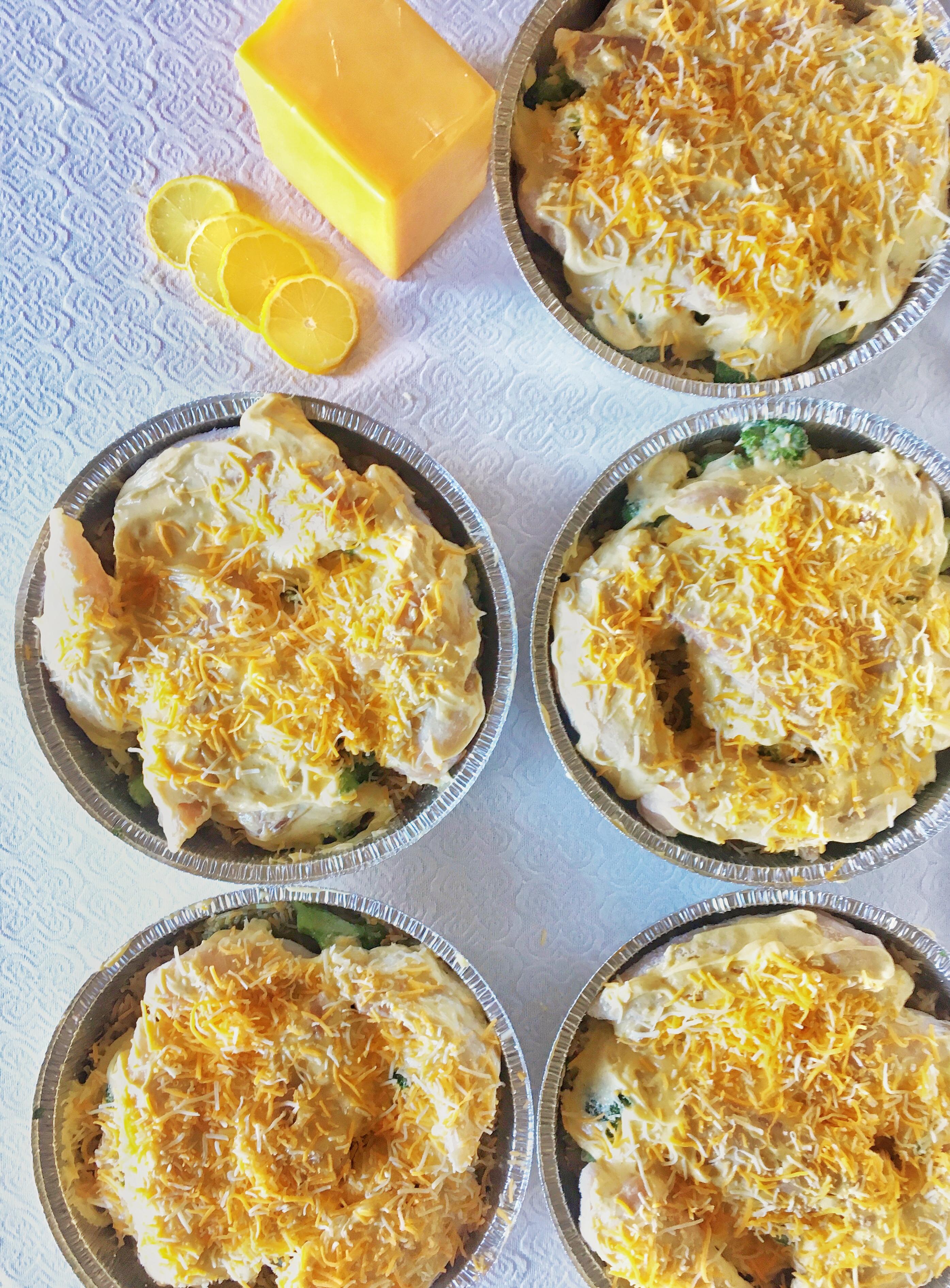 Chicken Broccoli Bake in 7 freezer pans