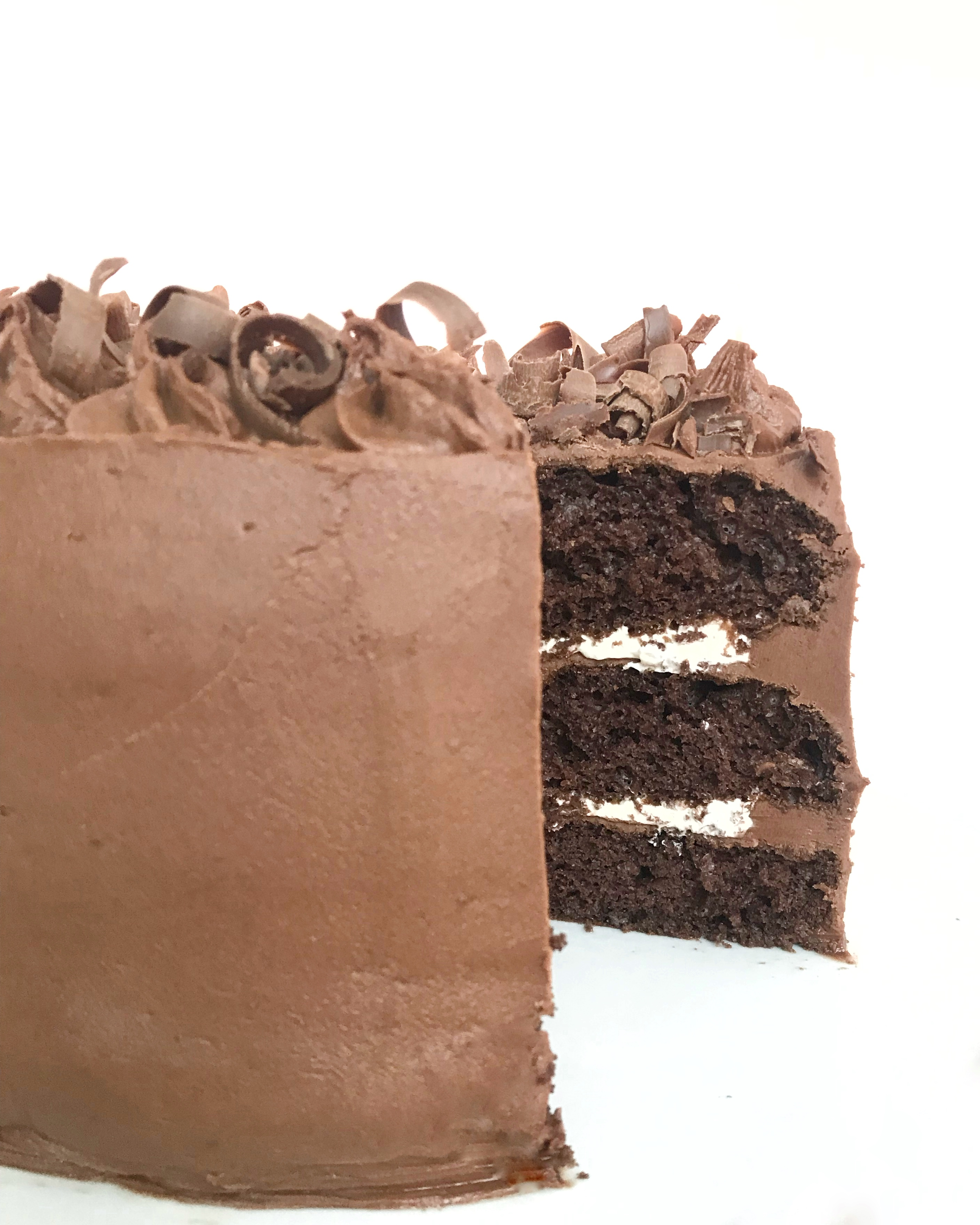 sliced perfect chocolate cake