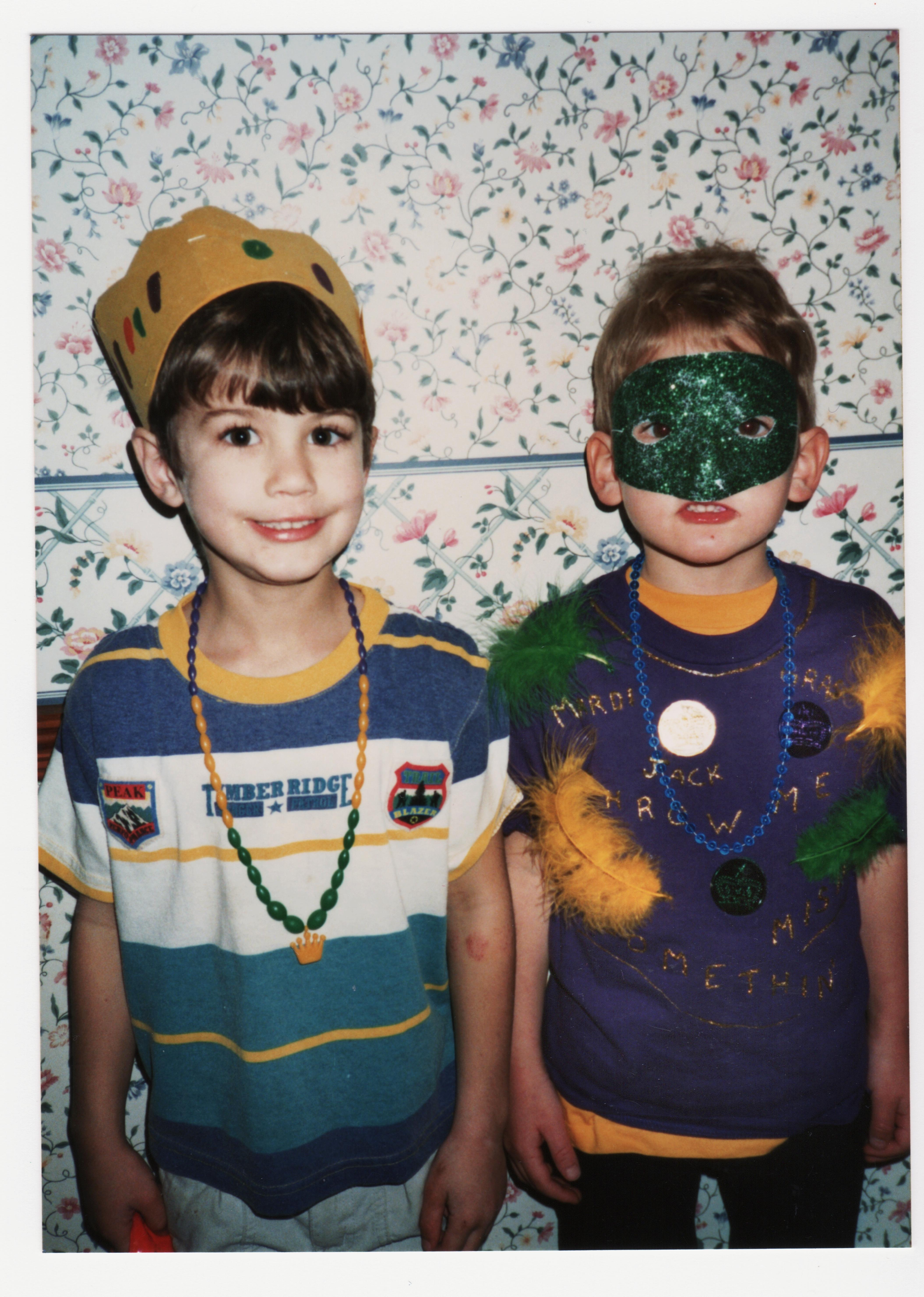 boys dressed for Mardi Gras at school