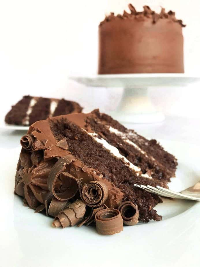 slice of perfect chocolate cake with cake in background