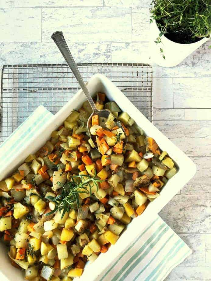roasted root vegetables in white rectangle dish