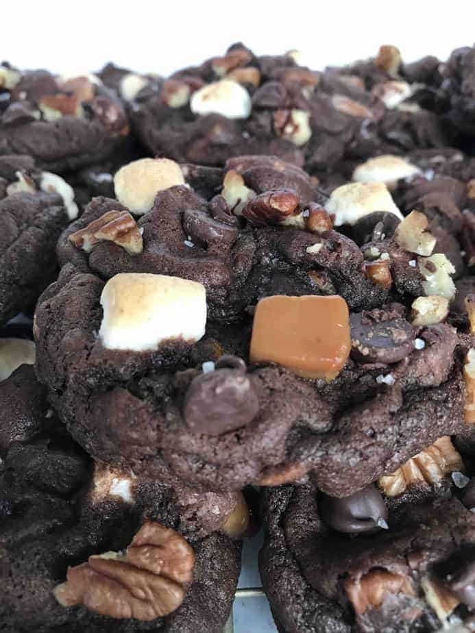 pile of rocky road cookies with caramel