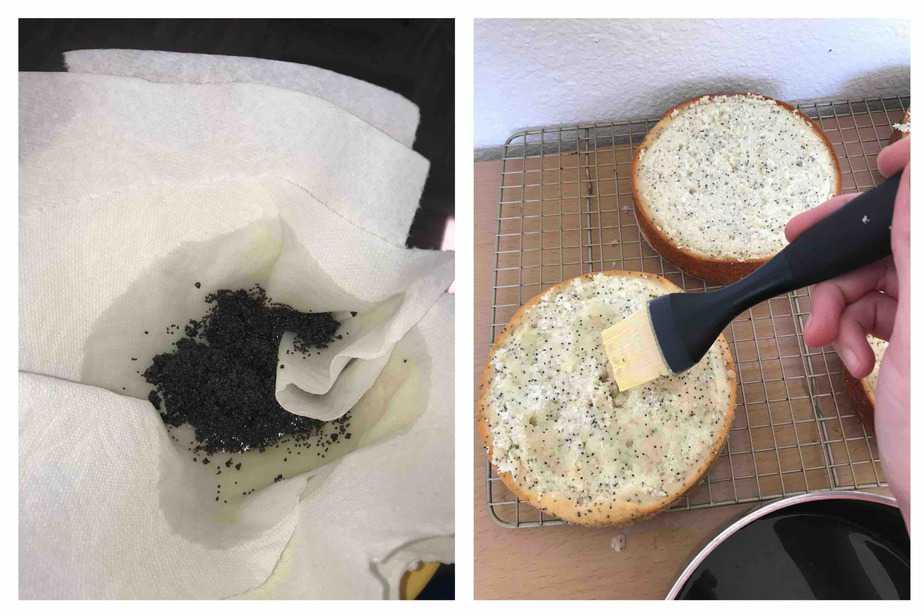 two images: poppyseeds being soaked and lemon syrup being brushed onto lemon poppyseed cake