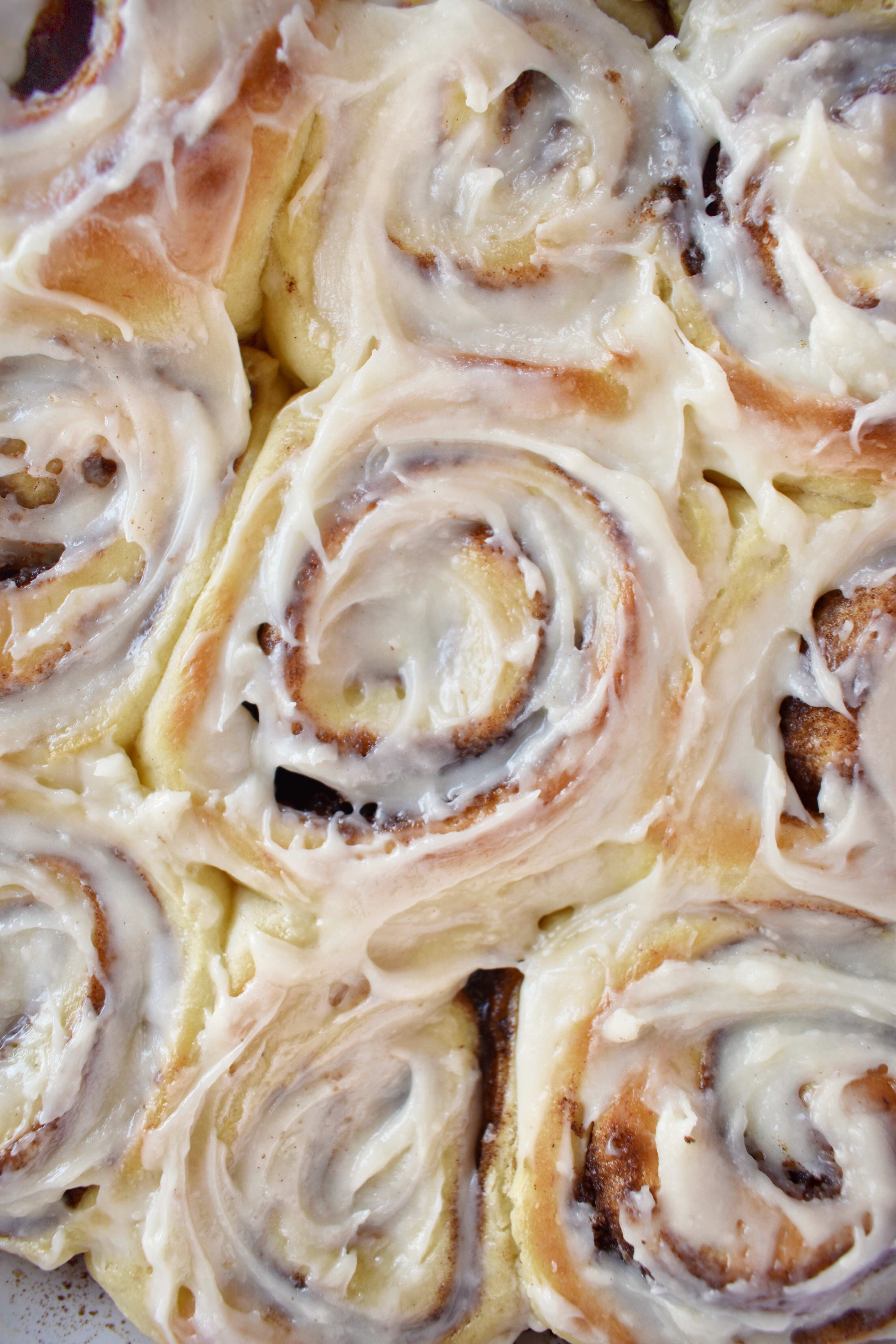 Close-up overhead shot of banana cinnamon rolls