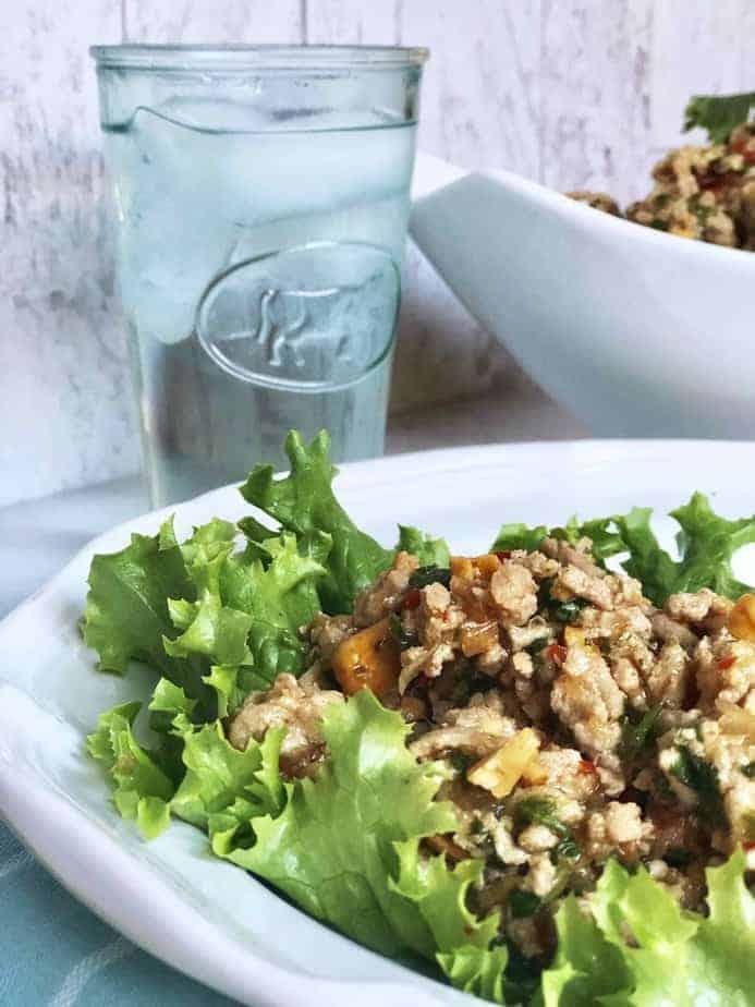 Thai Turkey lettuce wraps on white plate
