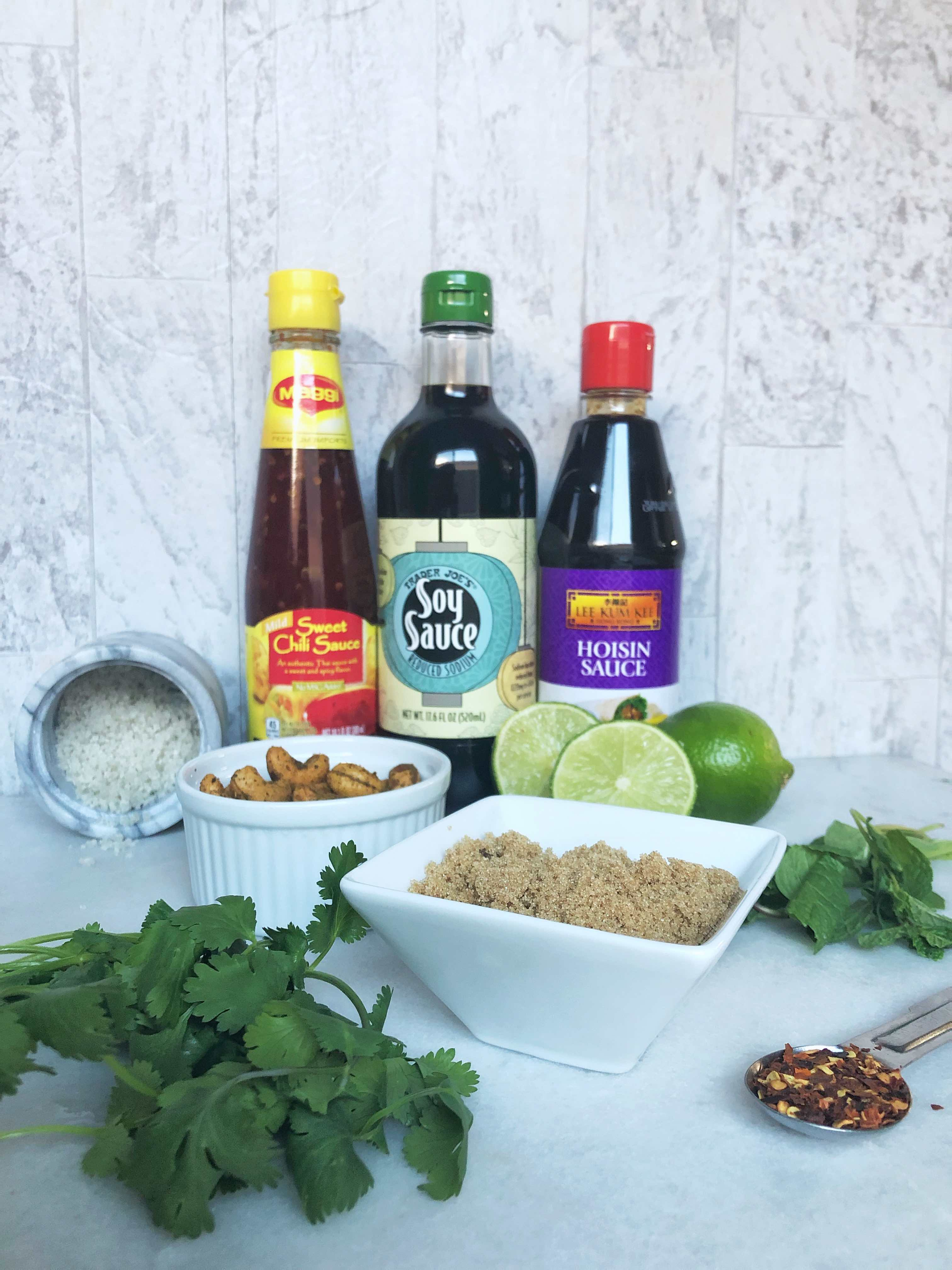 ingredients for sauce of Thai Turkey lettuce wraps