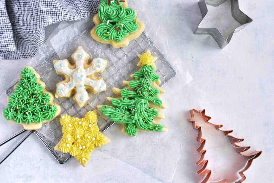decorated christmas cookies on cooling rack