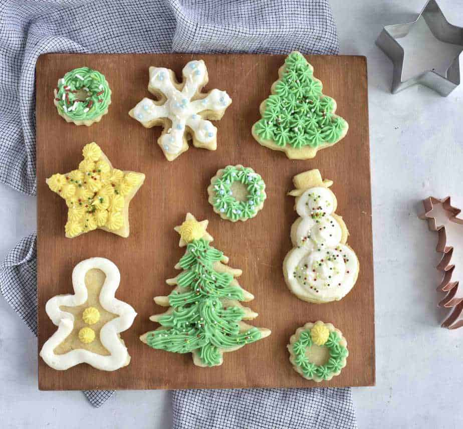 christmas sugar cookies frosted on tray