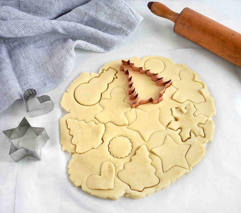 sugar cookie dough with cookie cutter